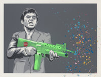 Mr. Brainwash (b. 1966) Montana Paintball, 2008 Screenprint in colors with spray paint on Archival paper 38-1/4 x 50