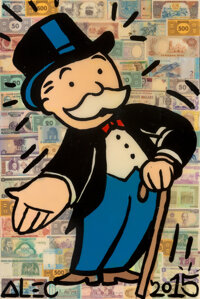 Alec Monopoly (b. 1986) Mr. Monopoly, 2015 Acrylic, spray paint, and collage on canvas with resin 36 x 24 x 3/4 inche