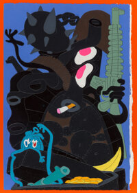 Todd James (b. 1969) Blorp Glorp Thud, early 21st century Acrylic and graphite on paper 22-1/2 x 16 inches (57.2 x 40
