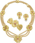 Estate Jewelry:Suites, Diamond, Ruby, Cultured Pearl, Gold Jewelry Suite, Rosen. ... (Total: 3 Items)