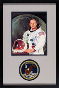 Explorers:Space Exploration, Neil Armstrong Signed, Uninscribed White Spacesuit Color Photo Matted and Framed with a Lion Brothers Apollo 11 Mission Insign...