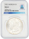 Explorers:Space Exploration, Coins: 1921 $1 MS61 NGC Morgan Silver Dollar Directly From...