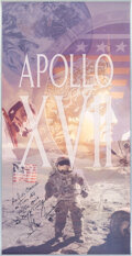 Explorers:Space Exploration, Gene Cernan Signed and Annotated Large Apollo 17 Color Pos...