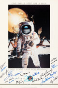 Explorers:Space Exploration, Apollo 11: 20th Anniversary Poster Signed by Nineteen Astronauts and Ground Crew including Neil Armstrong, with Zarelli LOA. ...