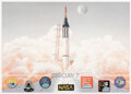 Explorers:Space Exploration, Mercury Seven Astronauts: Limited Edition, #309/1500, Color Print by George Bishop Signed by Six Astronauts plus Betty Grissom...