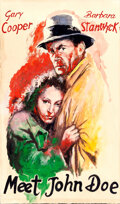 "Movie Posters:Drama, Meet John Doe (Scalera Film, 1948). Very Fine. Original Italian Mixed Media Comp Artwork on Paper (11.5"" X 20"") Attri..."