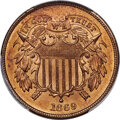 Two Cent Pieces, 1869 2C MS66 Red PCGS....