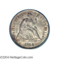 Seated Half Dimes: , 1864-S H10C MS65 PCGS. A scarce S-mint issue with only 90,...
