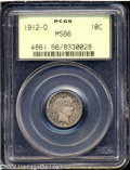 Barber Dimes: , 1912-D 10C MS66 PCGS. A superior example of this date, ...