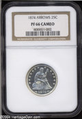 Proof Seated Quarters: , 1874 25C Arrows PR66 NGC. The obverse has a horizontal ...