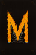 Works on Paper, Erté (Russian/French, 1892-1990). Letter M, 1976. Serigraph in colors on wove paper. 15-5/8 x 10-1/2 inches (39.7 x 26.7...