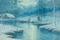 Paintings, Gulbrand Sether (Norwegian, 1869-1941). Winter Scene. Watercolor on paper. 14-3/4 x 21-5/8 inches (37.5 x 54.9 cm) (sigh...