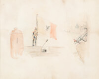Alfred Sully (American , 1820-1879) Soldier Holding Battle Flag Watercolor on paper 8-3/4 x 7-1/2