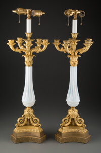 A Pair of Empire-Style Gilt Bronze and Opaline Glass Candelabra Lamps, 19th century, with later components 29 x 9-