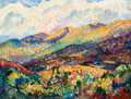 Paintings, Alfred Gwynne Morang (American, 1901-1958). Fall Colors - Descending, 1947. Oil on panel . 7-1/8 x 9-5/8 inches (18.1 x ...