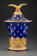 Ceramics & Porcelain, A French Sèvres-Style Gilt Porcelain Covered Vase with Eagle Finial, late 19th century. Marks: (marks effaced). 16 x 9-3/4 x...