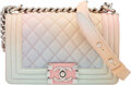 """Luxury Accessories:Bags, Chanel Pastel Quilted Caviar Leather Small Boy Bag with Silver Hardware. Condition: 2 . 8"""" Width x 6"""" Height x 2.5"""" De..."""
