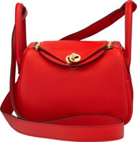 Hermès 20cm Rouge Tomate Clemence Leather Lindy Bag with Gold Hardware Y, 2020 Condition: 1</