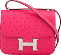 Hermès 18cm Rose Tyrien Double Gusset Constance Bag with Palladium Hardware Y, 2020 Condition: 1<