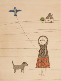 Keiko Minami (Japanese, 1911-2004) Girl Flying a Kite, 1970 Aquatint and etching in colors on Arches