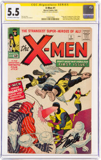 X-Men #1 Signature Series - Stan Lee (Marvel, 1963) CGC FN- 5.5 Off-white to white pages