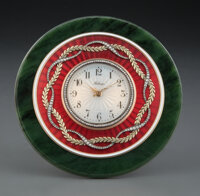 A Spinach Jade, 14K Vari-Color Gold, Diamond, and Guilloché Enamel Clock in the Manner of Fabergé, late 20...