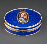 A 14K Vari-Color Gold, Guilloché Enamel, Diamond, and Cabochon-Mounted Box in the Manner of Fabergé, late...