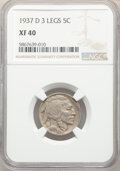 Buffalo Nickels, 1937-D 5C Three-Legged, FS-901, XF40 NGC. NGC Census: (376/5116). PCGS Population: (15/75). XF40. Mintage 17,826,000. ...