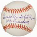 """Baseball Collectibles:Balls, 1995 U.S. President """"Gerald Rudolf Ford"""" Single Signed Baseball with """"38th President"""" Inscription...."""