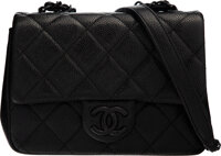 "Chanel So Black Quilted Caviar Leather Mini Flap Bag Condition: 1 7"" Width x 5.5"" Height x 2.5"" Depth"