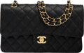 "Luxury Accessories:Bags, Chanel Black Quilted Caviar Leather Medium Double Flap Bag with Gold Hardware. Condition: 1. 10"" Width x 6"" Height x 2..."