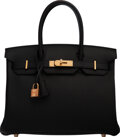 "Luxury Accessories:Bags, Hermès 30cm Black Togo Leather Birkin Bag with Rose Gold Hardware. D, 2019. Condition: 1. 12"" Width x 8.5"" Height ..."