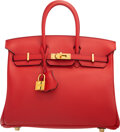 "Luxury Accessories:Bags, Hermès 25cm Rouge Casaque Swift Leather Birkin Bag with Gold Hardware. X, 2019. Condition: 2. 10"" Width x 7.5"" Hei..."