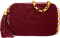 "Luxury Accessories:Bags, Chanel Burgundy Quilted Satin Camera Bag with Gold Hardware. Condition: 1. 7"" Width x 5"" Height x 3"" Depth. ..."