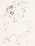Works on Paper, Jean Cocteau (French, 1889-1963). Dame visitée par un chérubin, 1952. Pencil on paper. 10-5/8 x 8-1/4 inches (27.0 x 21....