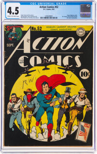 Action Comics #52 (DC, 1942) CGC VG+ 4.5 Cream to off-white pages