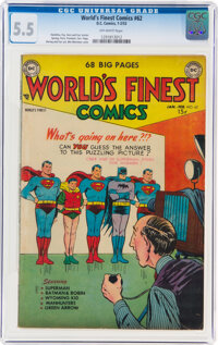 World's Finest Comics #62 (DC, 1953) CGC FN- 5.5 Off-white pages