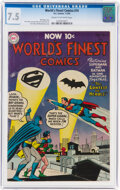 Golden Age (1938-1955):Superhero, World's Finest Comics #74 (DC, 1955) CGC VF- 7.5 Cream to off-white pages....
