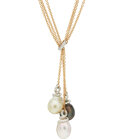 Estate Jewelry:Necklaces, South Sea Cultured Pearl, Diamond, Gold Necklace