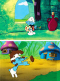 Animation Art:Production Cel, The Smurfs Harmony Smurf and Painter...