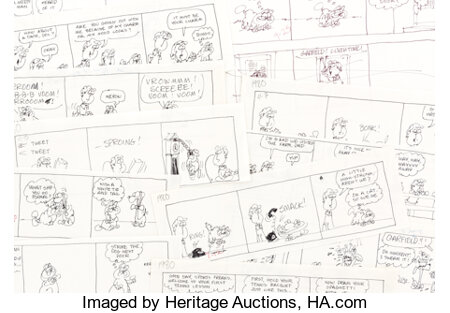 Jim Davis and Studio Garfield Daily Comic Strip Preliminary Original Art Group of Approximately 450 (United Featur...