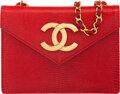 """Luxury Accessories:Bags, Chanel Vintage Red Lizard Envelope Flap Bag with Gold Hardware . Condition: 2. 7"""" Width x 5.5"""" Height x 2"""" Depth. ..."""