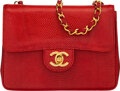 """Luxury Accessories:Bags, Chanel Vintage Red Lizard Mini Square Flap Bag with Gold Hardware. Condition: 3. 7"""" Width x 5.5"""" Height x 2.5"""" Depth..."""