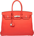 Luxury Accessories:Bags, Hermès 35cm Rose Jaipur Clemence Leather Birkin Bag with ...