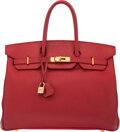 Luxury Accessories:Bags, Hermès 35cm Rouge Vif Courchevel Leather Birkin Bag with ...
