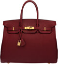 Luxury Accessories:Bags, Hermès 35cm Rouge H Fjord Leather Birkin Bag with Gold Ha...