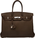 "Luxury Accessories:Bags, Hermès 35cm Gris Elephant Chevre Leather Birkin Bag with Palladium Hardware. H Square, 2004. Condition: 4. 14"" Wid..."