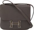 Luxury Accessories:Bags, Hermès 18cm Etain Swift Leather Double-Gusset Verso Constance Bag with Palladium Hardware. O Square, 2011. Condition: ...