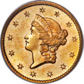 Gold Dollars, 1854-S G$1 MS65+ PCGS. CAC....