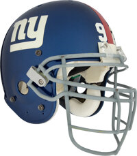 2004 Michael Strahan Game Worn New York Giants Helmet - Photo Matched to 9/19 vs. Redskins With Pat Tillman Sticker